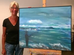 Nellie de Bruin bij schilderij